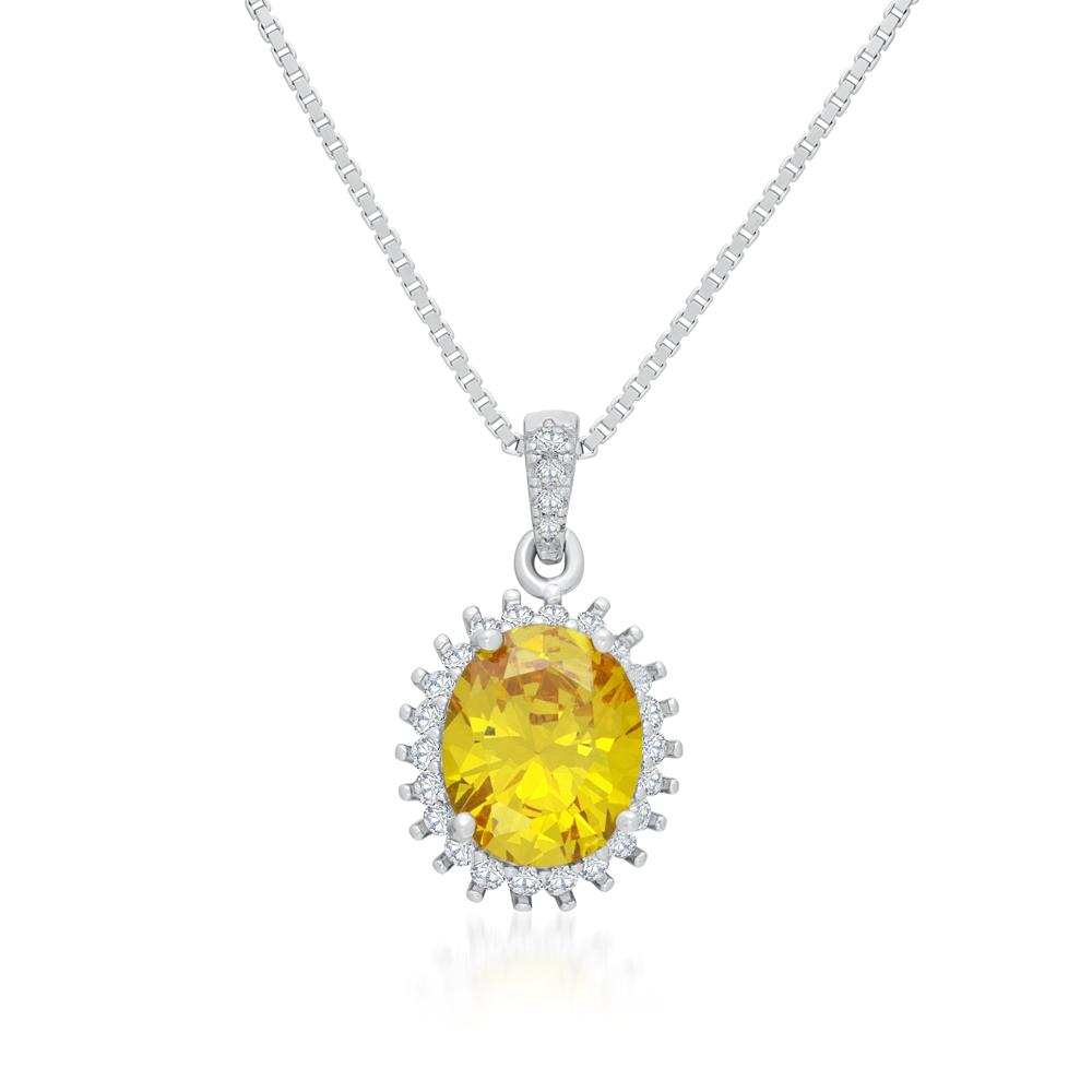 925 Sterling Silver Necklace Decorated Yellow Cubic Zirconia Fashion-Cat 28ЗPA1990506