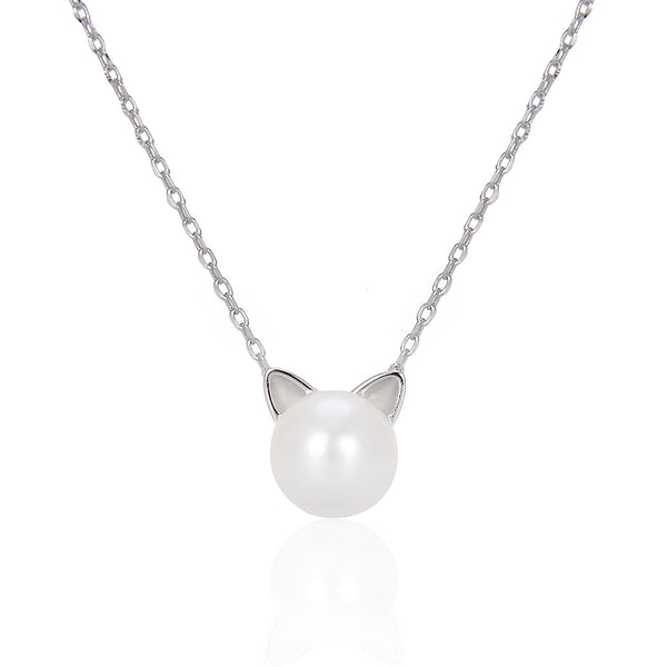 Freshwater Pearl Cat Necklace in 925 Sterling Silver Fashion-Cat 29NE02550450.1