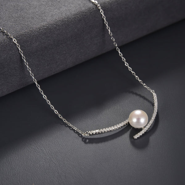 Freshwater Pearl Bar Necklace in 925 Sterling Silver with CZ Fashion-Cat 29NE02910650.1