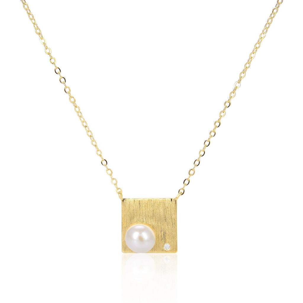 Freshwater Pearl Square Pendant Necklace in 14K Gold Overlay 925 Sterling Silver Fashion-Cat 29NE05940539G.1