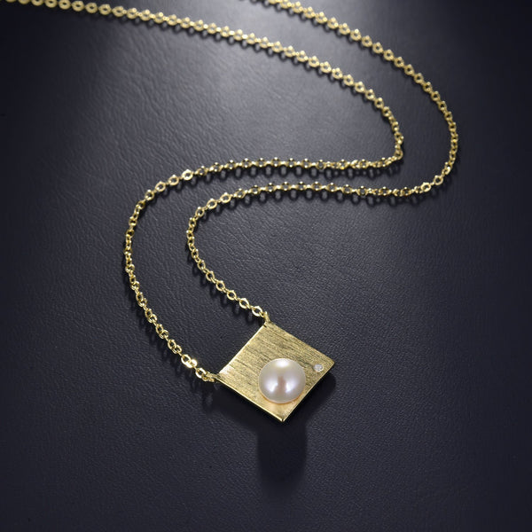 Freshwater Pearl Square Pendant Necklace in 14K Gold Overlay 925 Sterling Silver Fashion-Cat 29NE05940539G.2