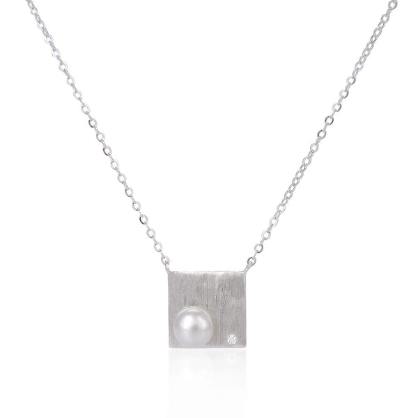 Freshwater Pearl Square Pendant Necklace in 925 Sterling Silver Fashion-Cat 29NE05940539S.1