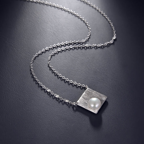 Freshwater Pearl Square Pendant Necklace in 925 Sterling Silver Fashion-Cat 29NE05940539S.2