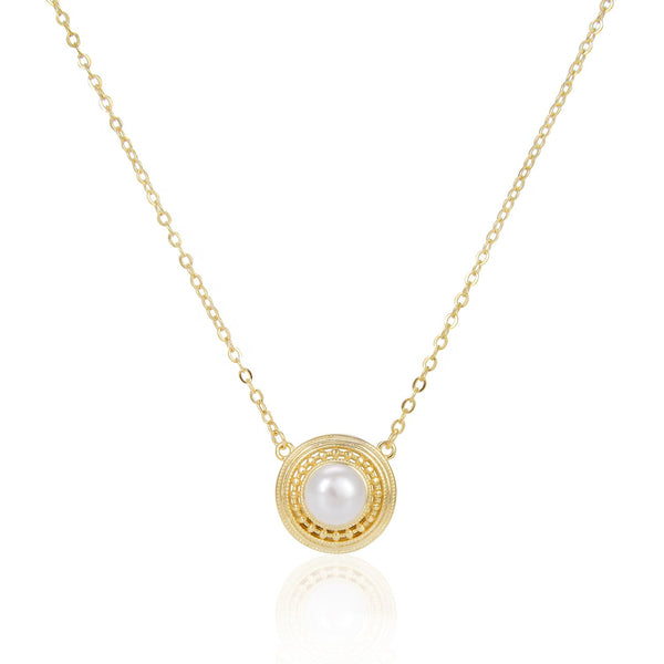 Freshwater Pearl Round Pendant Necklace in 14K Gold Overlay 925 Sterling Silver Fashion-Cat 29NE06050425G.1