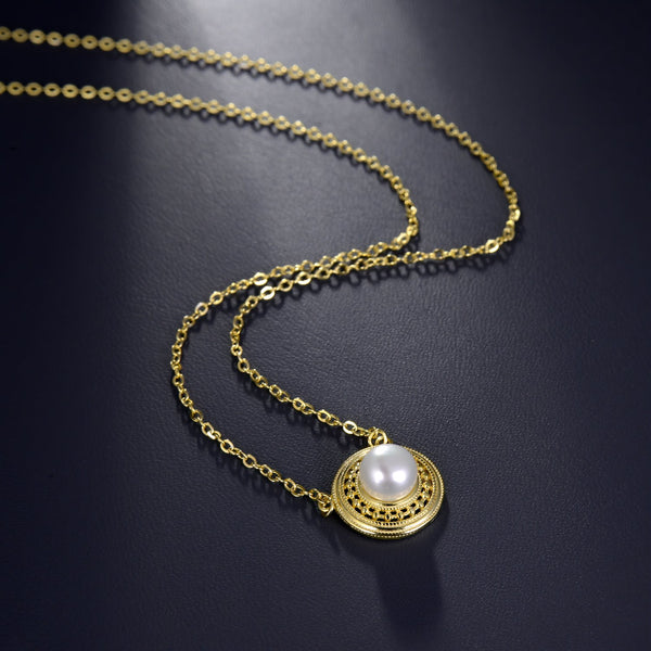 Freshwater Pearl Round Pendant Necklace in 14K Gold Overlay 925 Sterling Silver Fashion-Cat 29NE06050425G.2