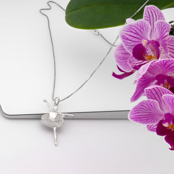 925 Sterling Silver Ballerina Necklace Decorated  Sparkling Cubic Zirconia Fashion-Cat SP28PA30170559.1