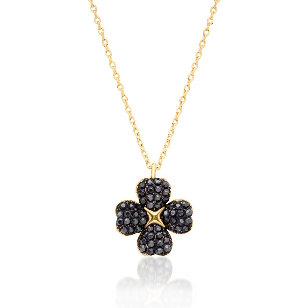 Clover Shaped Necklace in 14K Gold Over 925 Sterling Silver with Black CZ