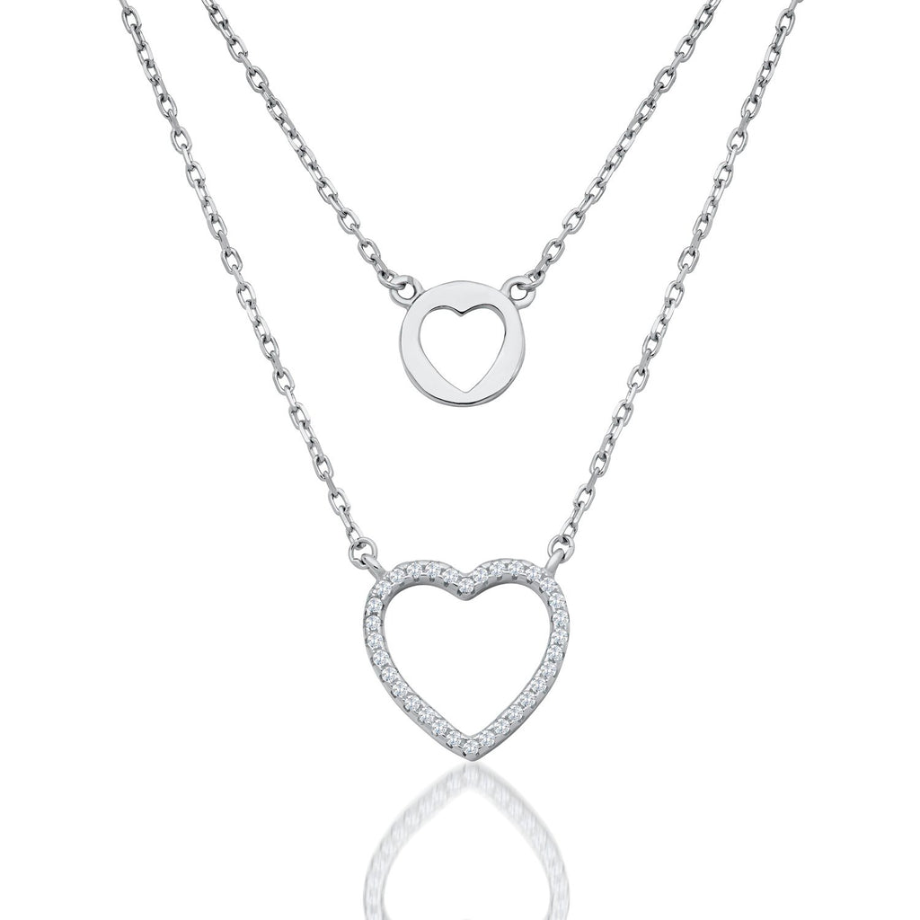 Heart Double Layered Necklace in Sterling Silver with CZ Fashion-Cat_28F11200466