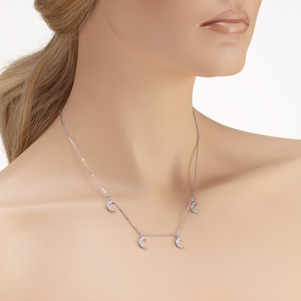 Moon Pedants Necklace in 925 Sterling Silver with Shining CZ Fashion-Cat_28F13370423.1