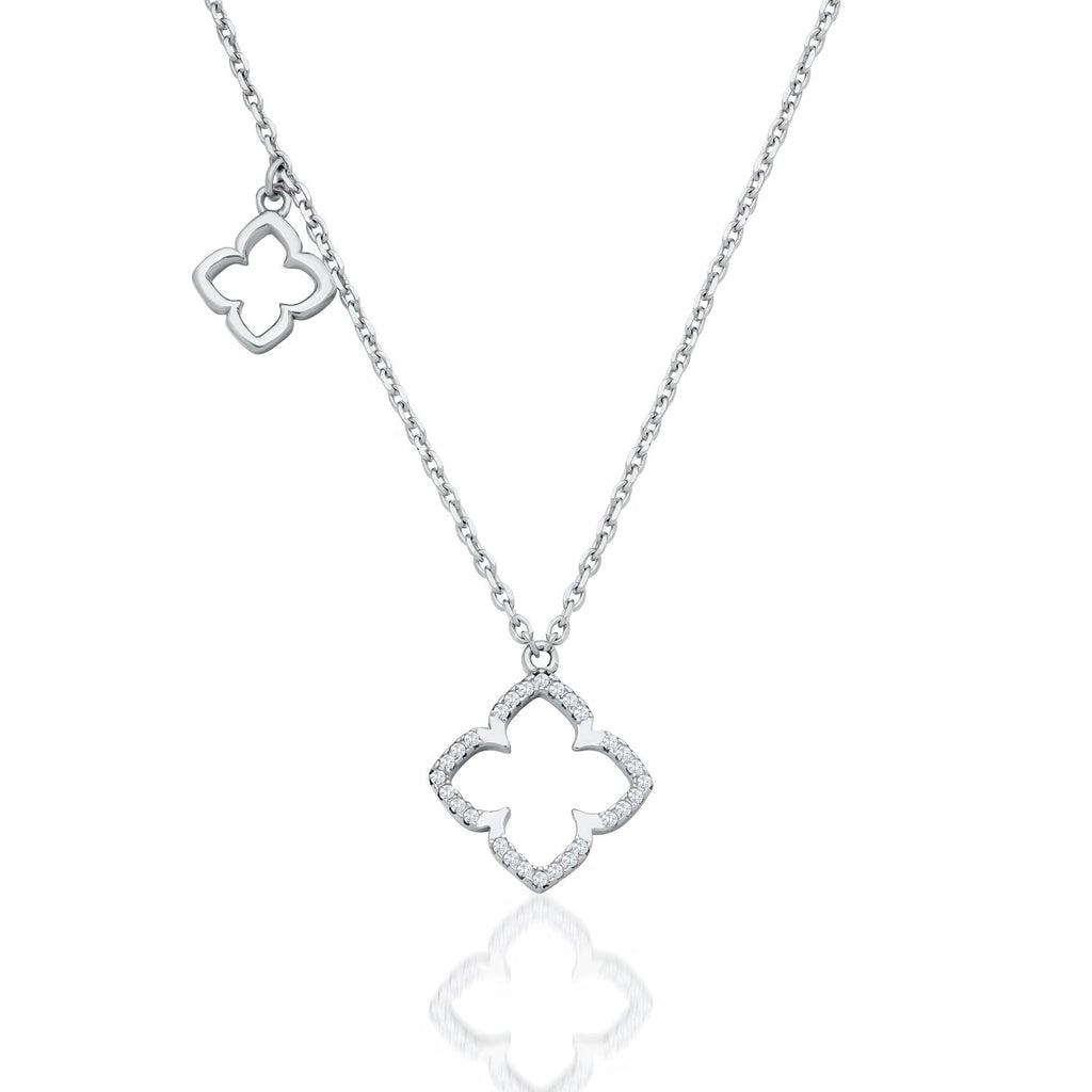Sterling Silver Flower Pendants Necklace Decorated Shining CZ Fashion-Cat_28NF4920358.1