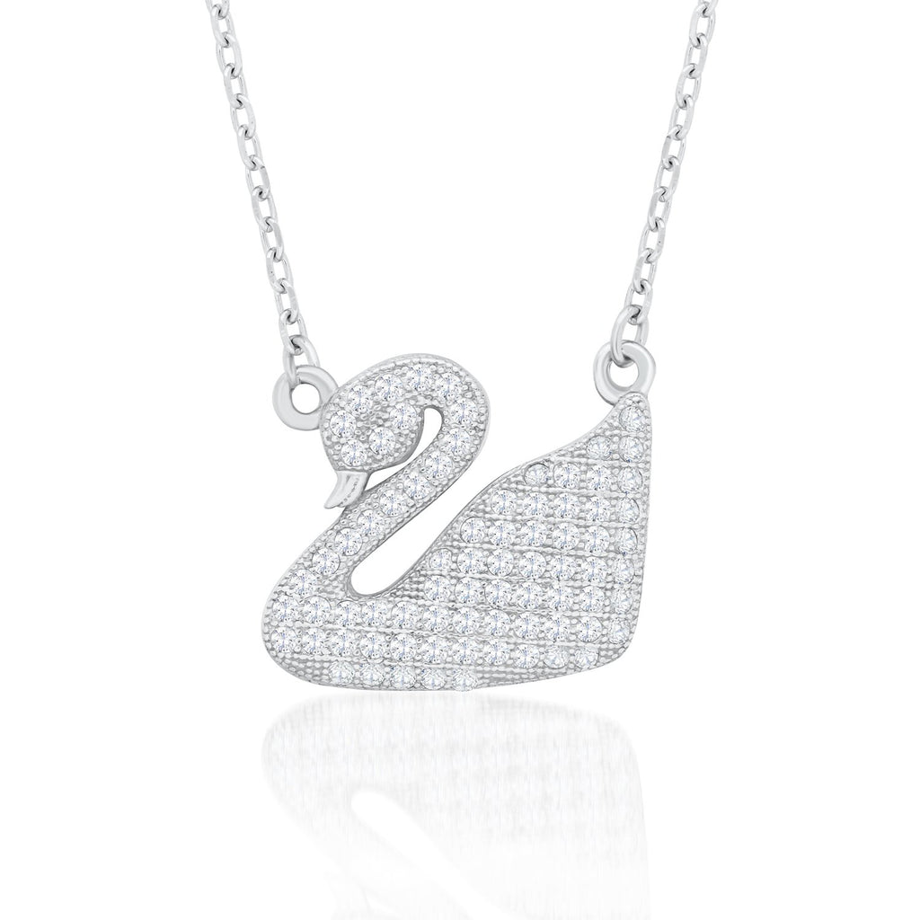 Sterling Silver Swan Shaped Pendant Necklace with Shining CZ  Fashion-Cat_28NF6720425