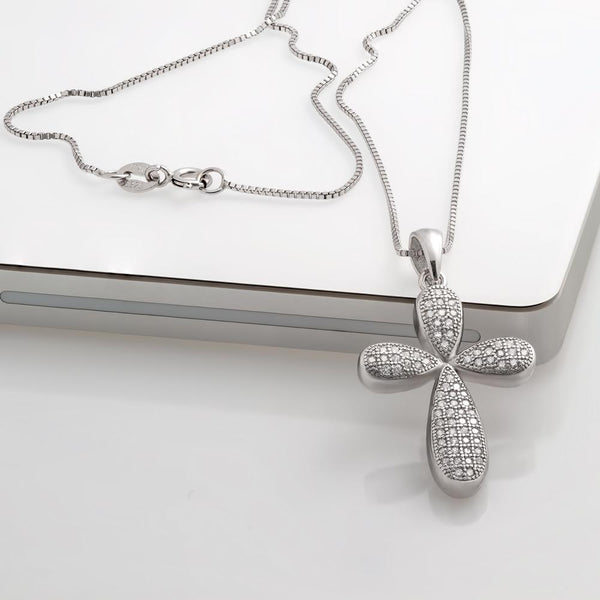 925 Sterling Silver Cross Necklace Decorated Shining Cubic Zirconia Fashion-Cat 28PA27740686.1