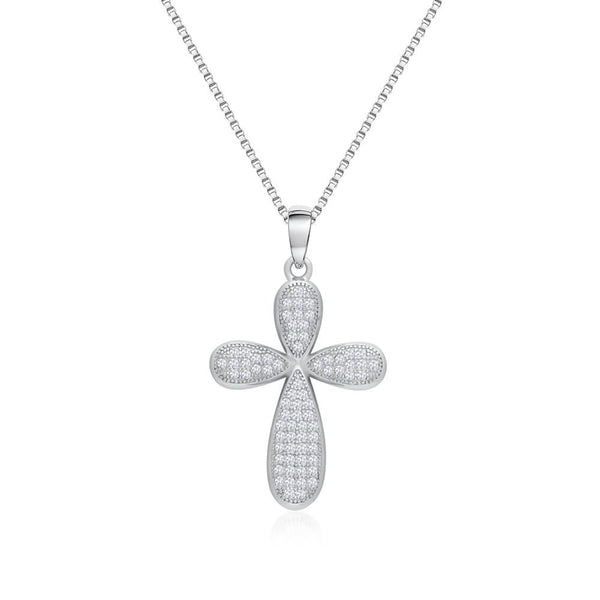 925 Sterling Silver Cross Necklace Decorated Shining Cubic Zirconia Fashion-Cat 28PA27740686
