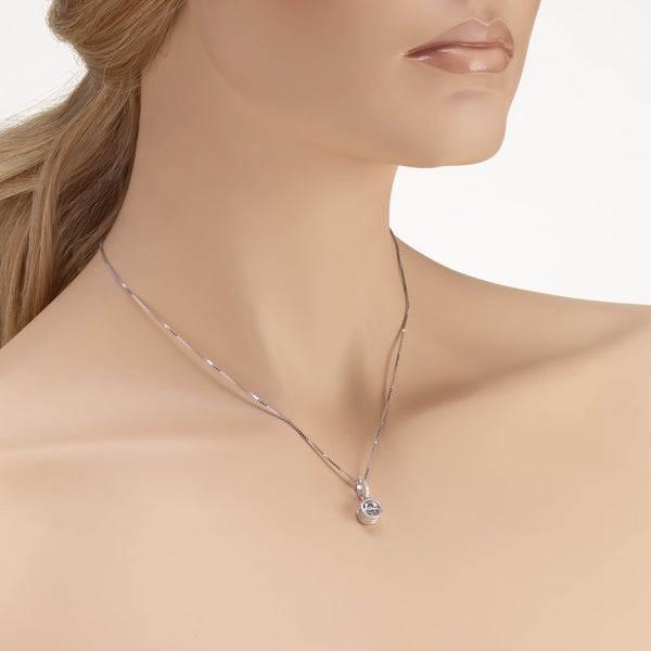 Love Pendant Necklace in 925 Sterling Silver with Shining CZ