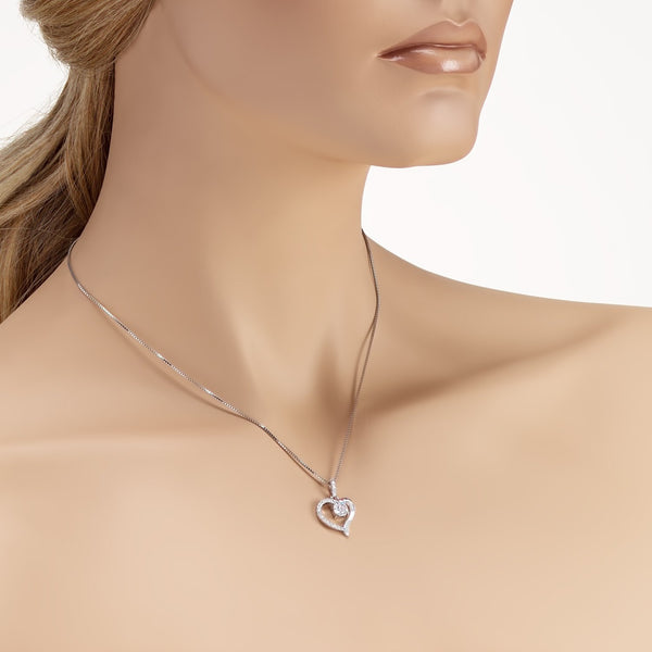 Heart Shaped Pendant Necklace in 925 Sterling Silver with Shining CZ Fashion-Cat_28A31410449.2