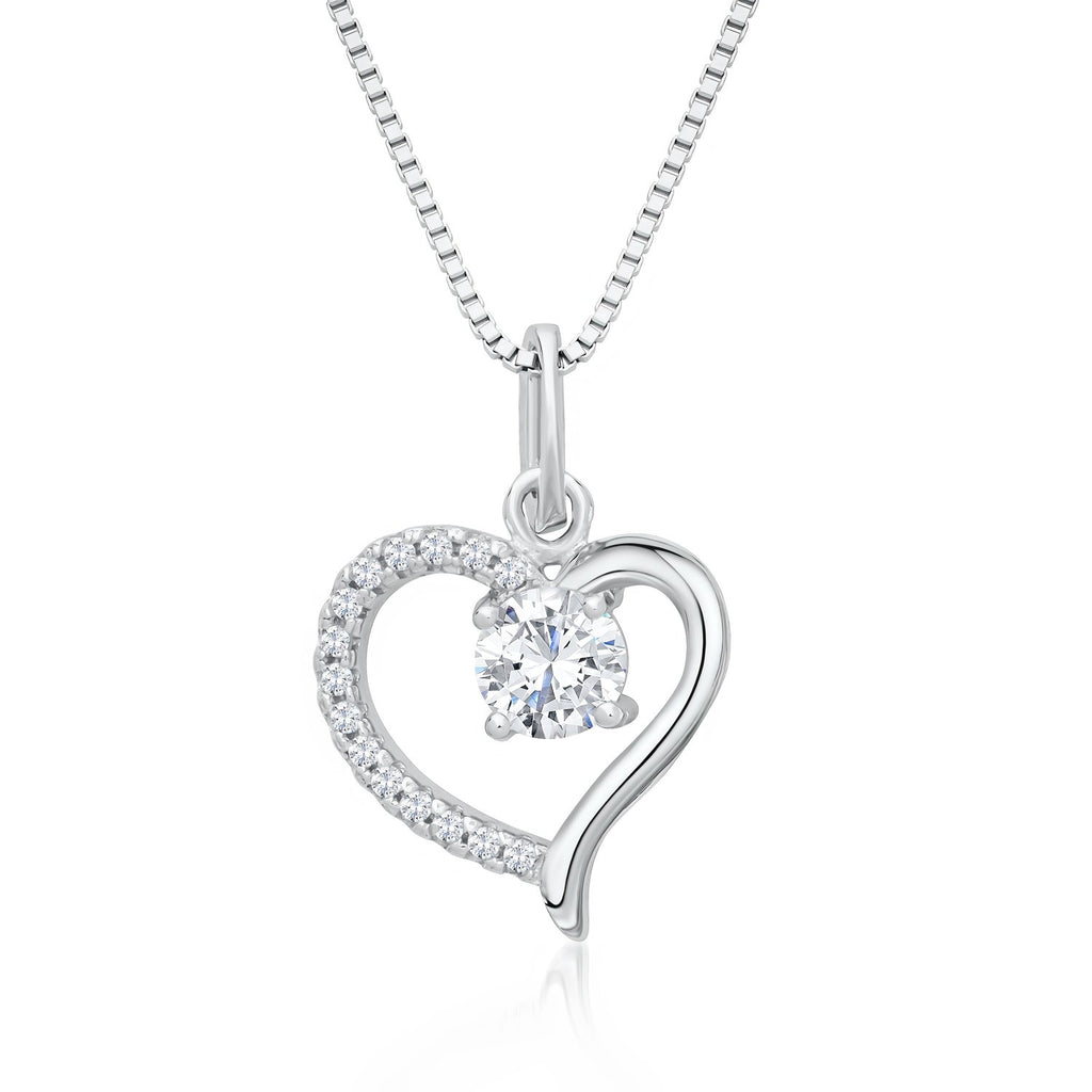 Heart Shaped Pendant Necklace in 925 Sterling Silver with Shining CZ Fashion-Cat_28A31410449.1