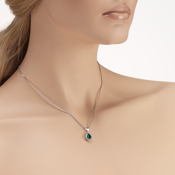 Sterling Silver Halo Drop Pendant Necklace Decorated Green CZ Fashion-Cat_28A31840412.1