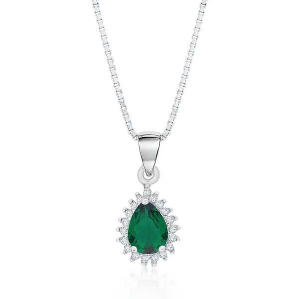 Sterling Silver Halo Drop Pendant Necklace Decorated Green CZ Fashion-Cat_28A31840412