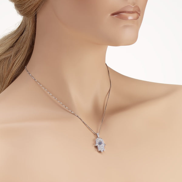 925 Sterling Silver Hamsa Pendant Necklace with Shining Cubic Zirconia Fashion-Cat_28A32200674.1