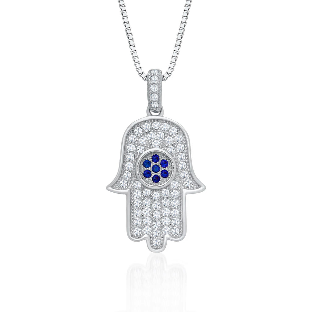925 Sterling Silver Hamsa Pendant Necklace with Shining Cubic Zirconia Fashion-Cat_28A32200674