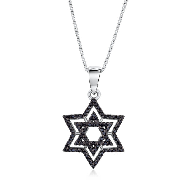 Star of David Pendant Necklace in 925 Sterling Silver with Black CZ Fashion-Cat_28A42180552