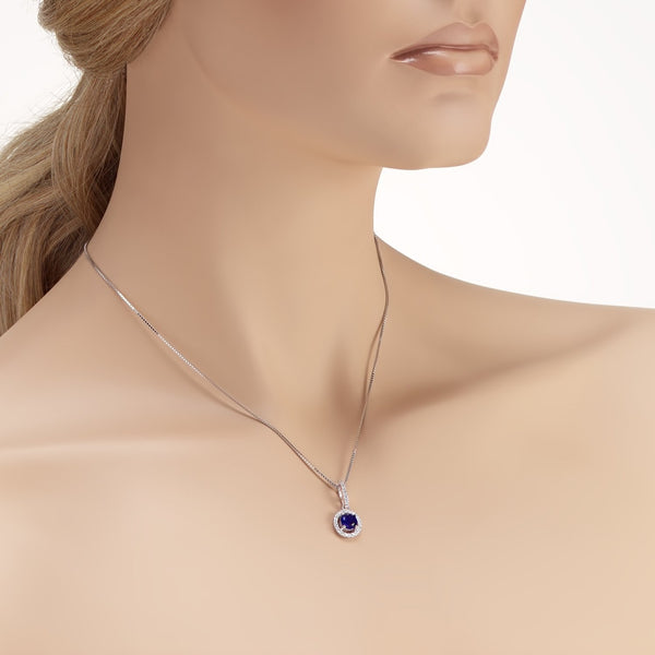 Sterling Silver Halo Pendant Necklace Decorated Blue Cubic Zirconia Fashion-Cat_28B95480425.4