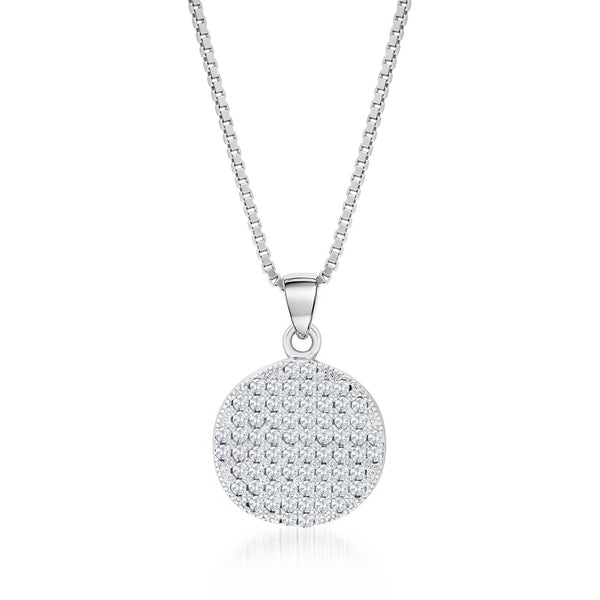 Sterling Silver Round Disk Pendant Necklace with Shining CZ Fashion-Cat_28PA31550459