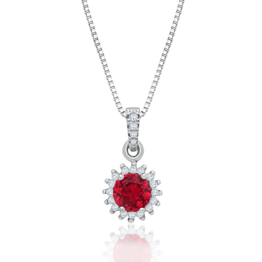 Sterling Silver Halo Pendant Necklace Decorated Red Cubic Zirconia Fashion-Cat_28PA31670428