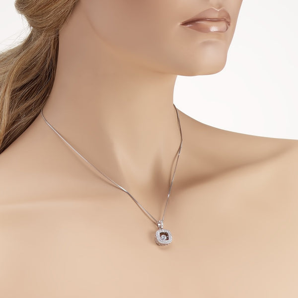 Sterling Silver Square Pendant Necklace with Dancing Cubic Zirconia Fashion-Cat_28PB113560576.1