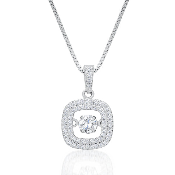 Sterling Silver Square Pendant Necklace with Dancing Cubic Zirconia Fashion-Cat_28PB113560576