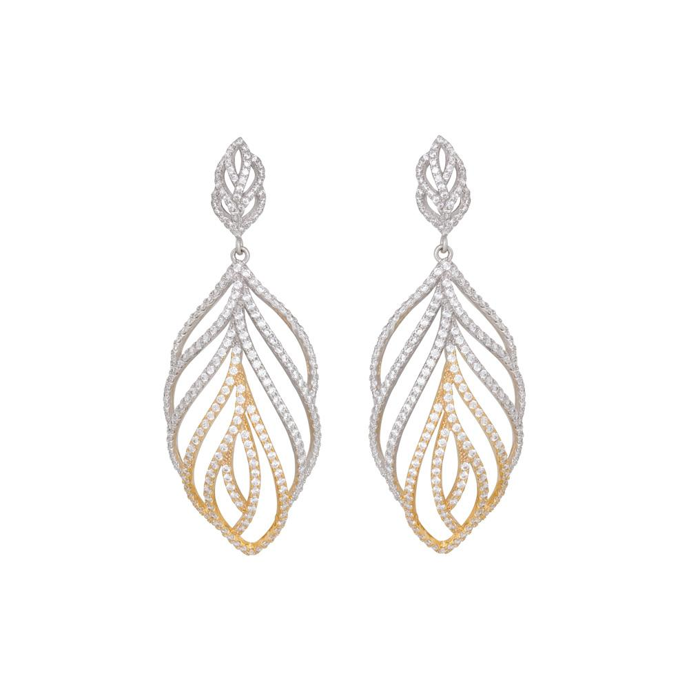 925 Sterling Silver Two Tones Dangle Earrings Micro Pave CZ Fashion-Cat SE27B01Q2081858.1