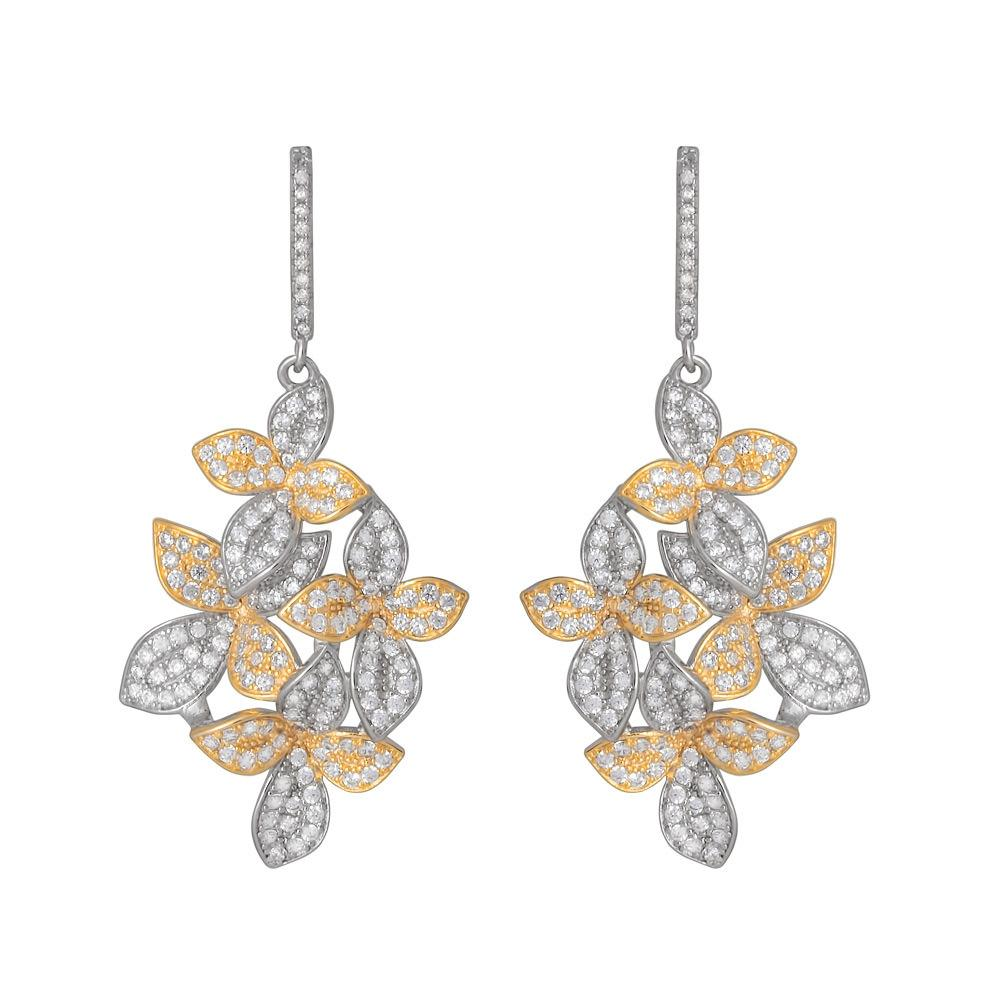 925 Sterling Silver Two Tones Flowers Dangle Earrings Micro Pave CZ SE27GE1X0441420.Fashion-Cat.1