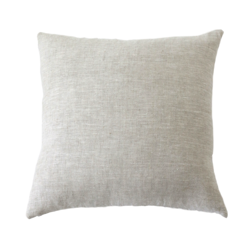 Oatmeal Plain Linen Pillow Cover