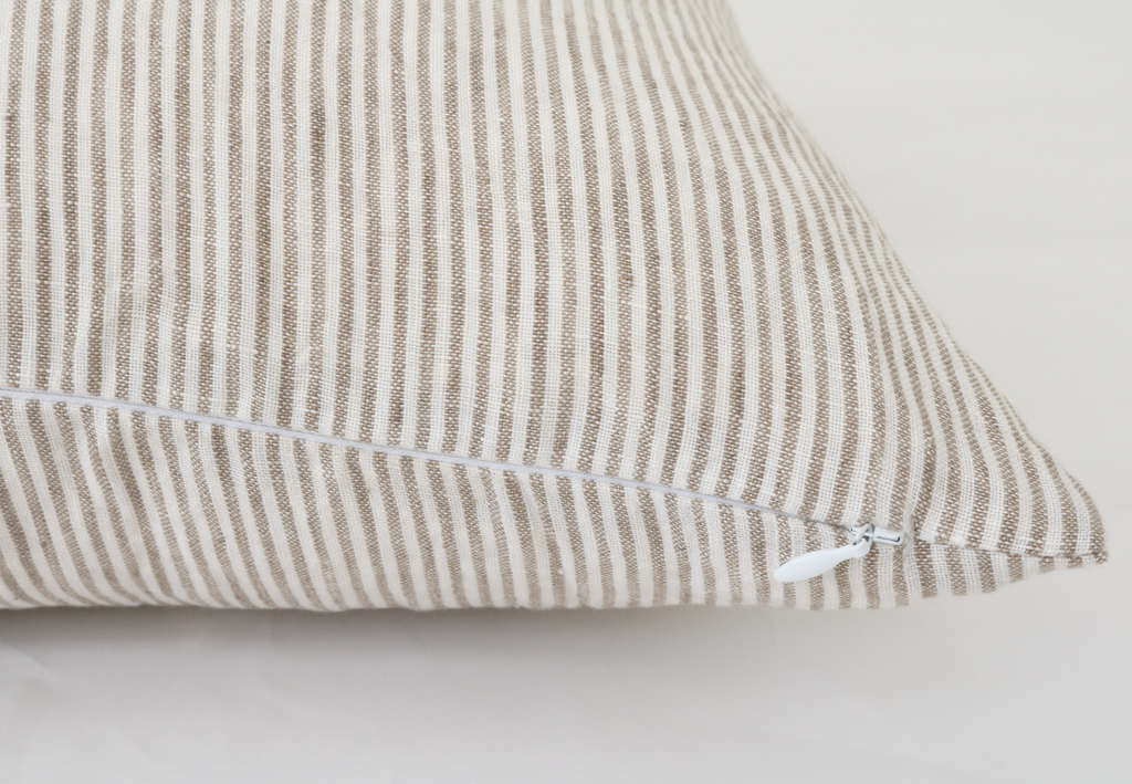 Oxford Tan Stripe Pillow Cover