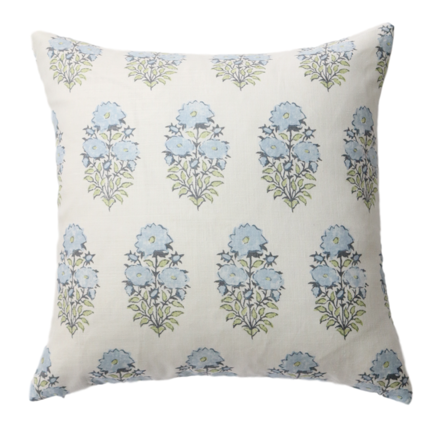 Blue Floral Block Print Pillow Cover