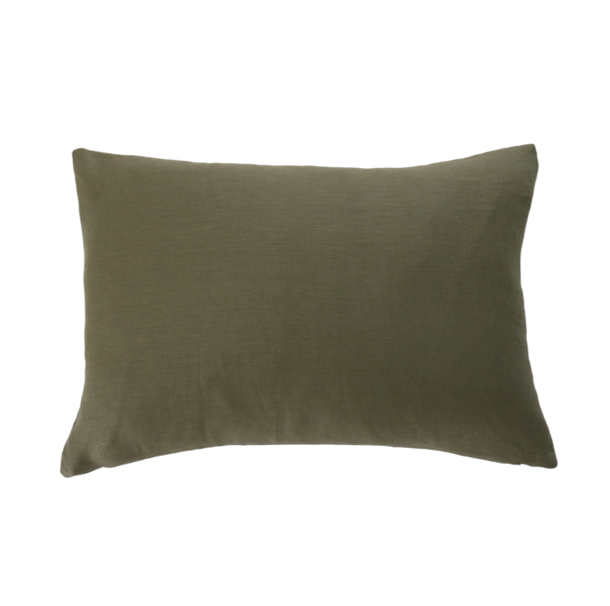 Olive Green Linen Pillow Cover