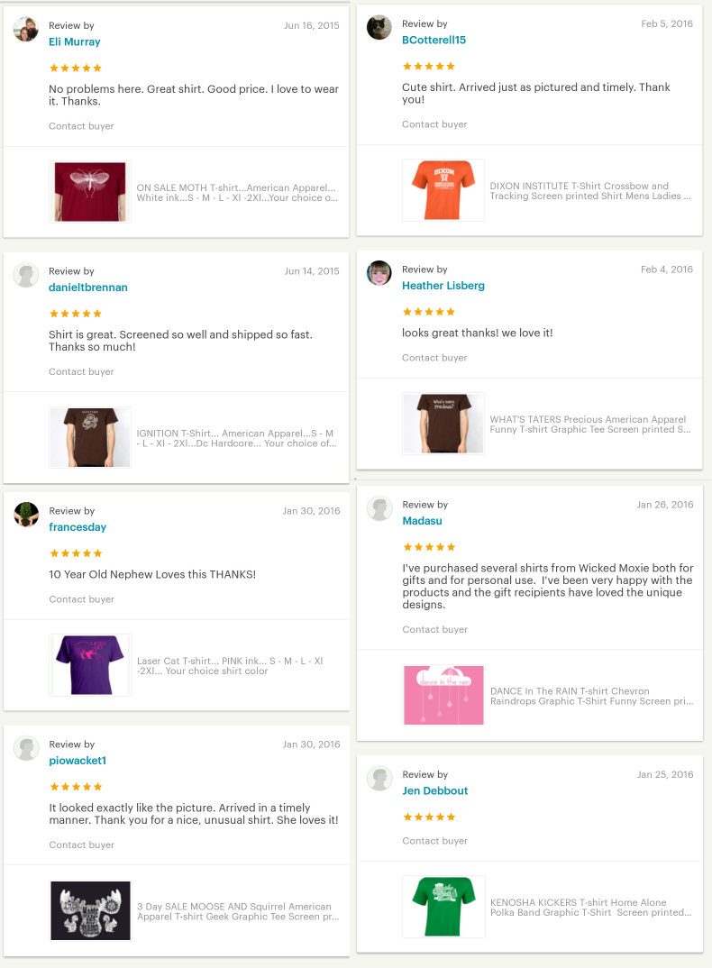 wickedmoxie feedback etsy professional graphic screen printed t-shirt