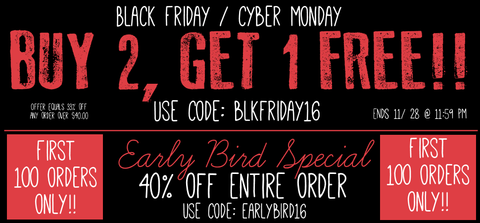 buy 2 get 1 free or 40% off earlybird