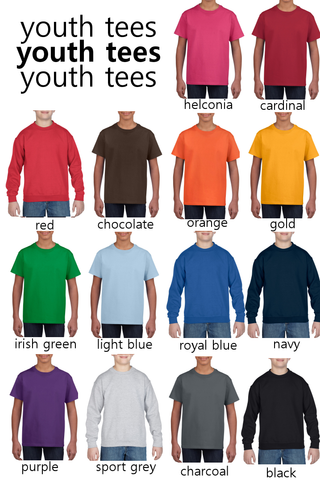 youth short sleeve and crewneck fleece color chart