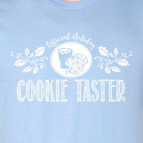 cookie taster tee light blue official holiday christmas family personalized short sleeve t-shirt