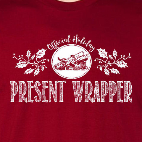present wrapper tee cardinal red official holiday christmas family personalized short sleeve t-shirt
