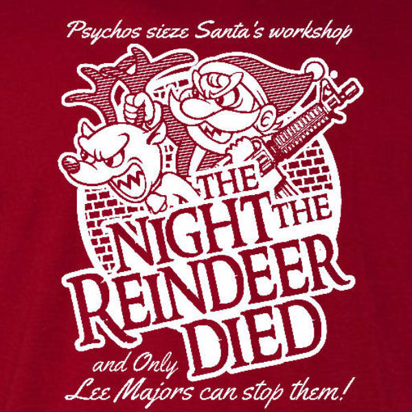 night the reindeer died t-shirt cardinal red scrooged bill murray holiday christmas santa short sleeve tee