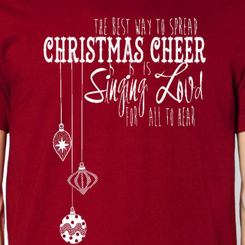 christmas cheer youth tee cardinal red elf movie holiday sing loud for all to hear unisex kids boys girls t-shirt