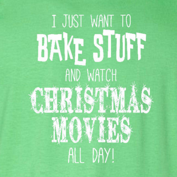bake christmas movies t-shirt irish green funny holiday text short sleeve tee