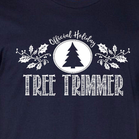 58808133 tree trimmer tee navy blue official holiday christmas family personalized  short sleeve t-shirt ...