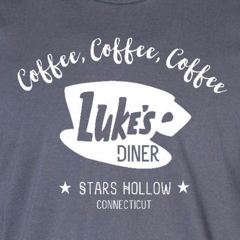 luke's diner ladies t-shirt charcoal grey gilmore girls coffee inspired short sleeve tee