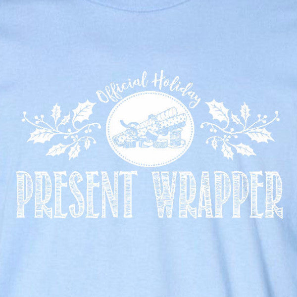 present wrapper ladies tee light blue official holiday christmas family personalized short sleeve t-shirt