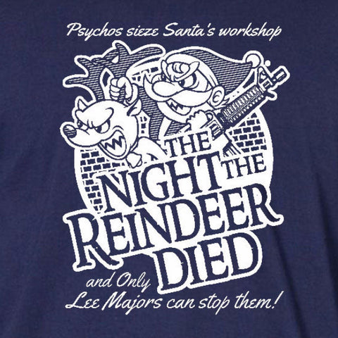 night the reindeer died ladies t-shirt navy blue scrooged bill murray holiday christmas santa short sleeve tee