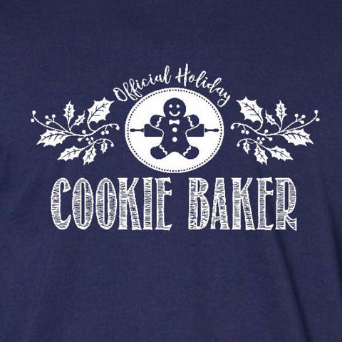 cookie baker ladies tee navy blue official holiday christmas family personalized short sleeve t-shirt