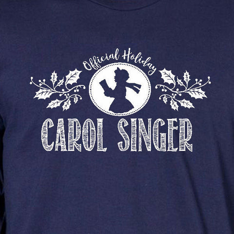 carol singer tee navy blue official holiday christmas family personalized short sleeve t-shirt